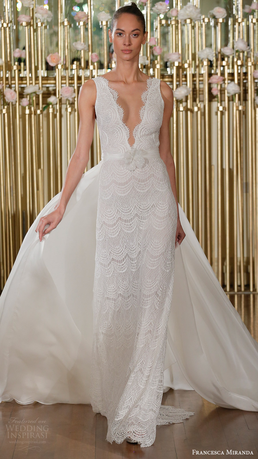 francesca miranda spring 2018 bridal sleeveless deep v neck lace trumpet wedding dress overskirt (selene) mv elegant romantic