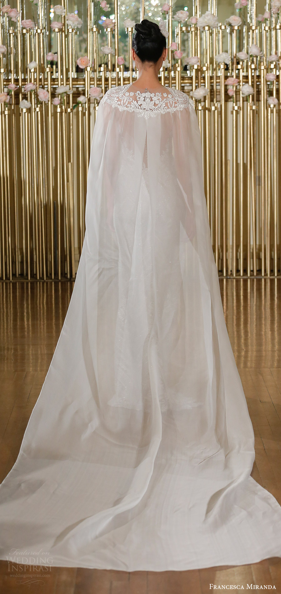 francesca miranda spring 2018 bridal sleeveless illusion jewel neck fully embellished trumpet wedding dress (evangeline) bv train sheer cape