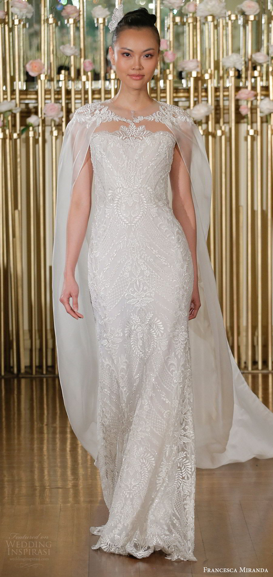 francesca miranda spring 2018 bridal sleeveless illusion jewel neck fully embellished trumpet wedding dress (evangeline) mv sheer cape