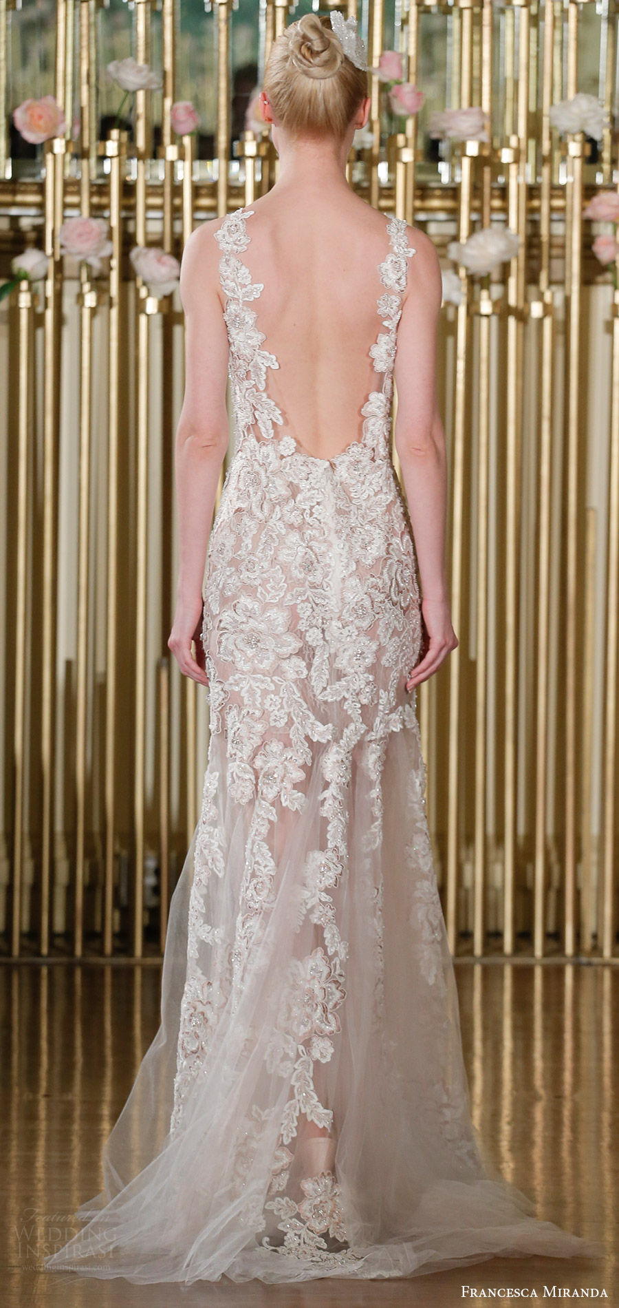 francesca miranda spring 2018 bridal sleeveless sweetheart blush lace mermaid wedding dress ilusion skirt (jocelyn) bv elegant sweep train