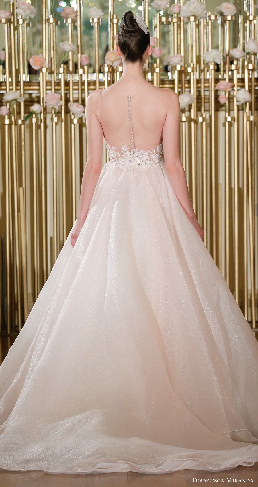 francesca miranda spring 2018 bridal sleeveless sweetheart embroidered bodice ball gown wedding dress (amelie) bv short train blush romantic