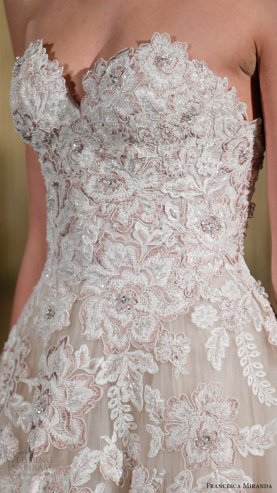 francesca miranda spring 2018 bridal strapless sweetheart blush embroidered bodice a line ball gown wedding dress (monique) zfv romantic