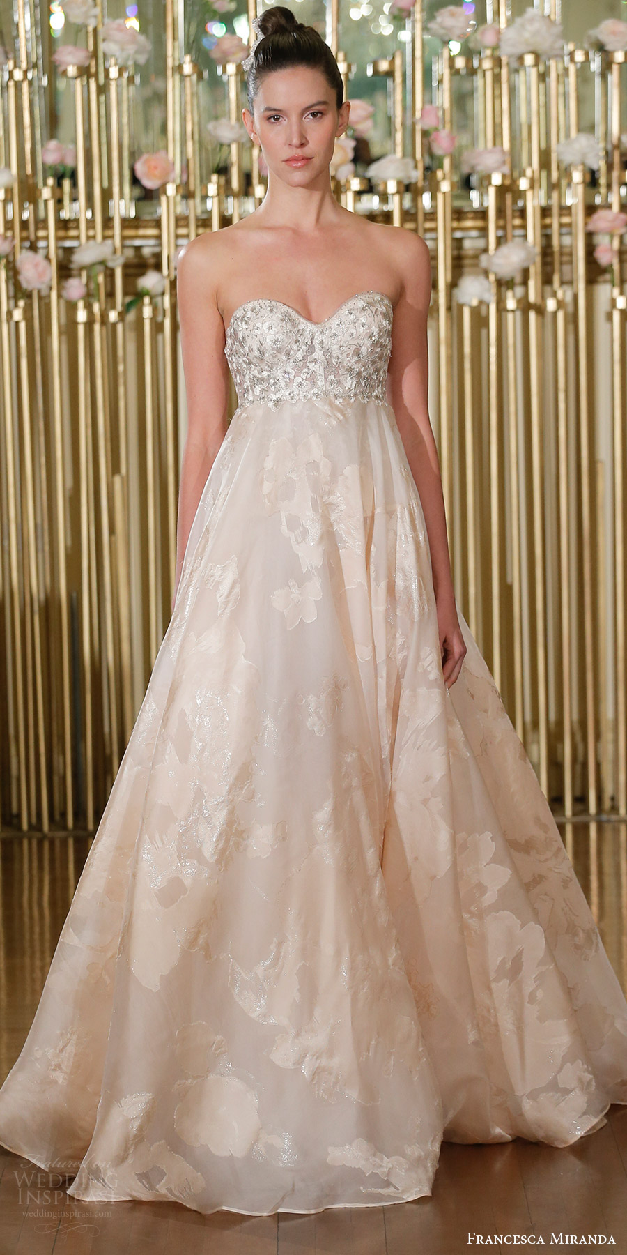 francesca miranda spring 2018 bridal strapless sweetheart embellished corset bodice empire a line wedding dress (gaelle) mv blush romantic