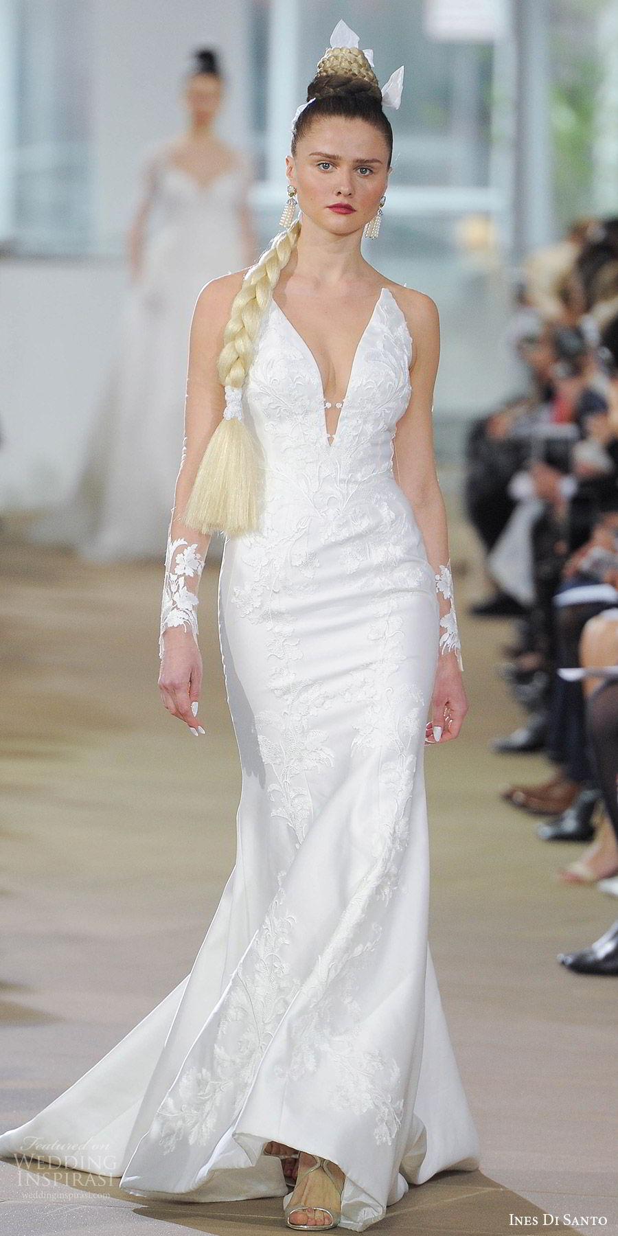 ines di santo spring 2018 bridal illusion long sleeves deep v neck embroiderd trumpet wedding dress (audin) mv illusion back