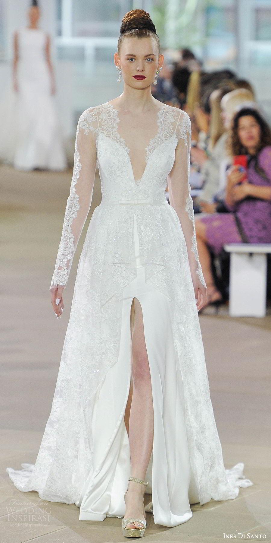 ines di santo spring 2018 bridal illusion long sleeves deep vneck lace coat a line wedding dress (blake) mv slit skirt romantic