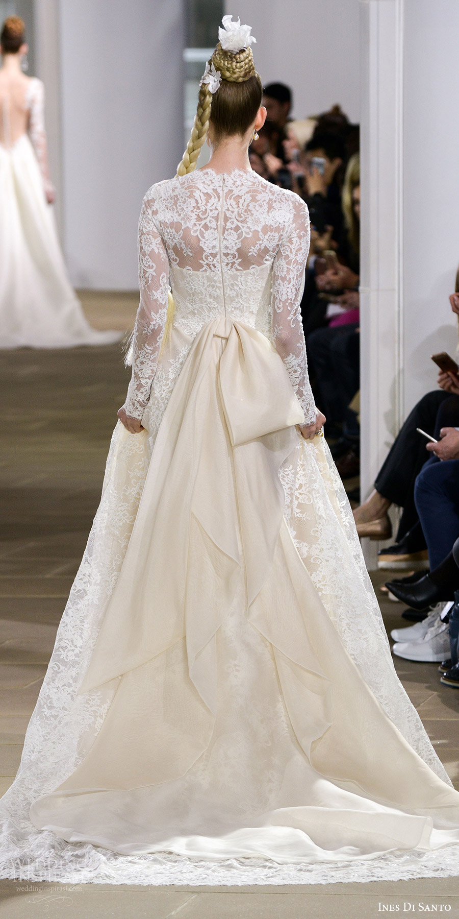 ines di santo spring 2018 bridal illusion long sleeves jewel neck lace a line wedding dress (deborah) bv bow back train romantic elegant