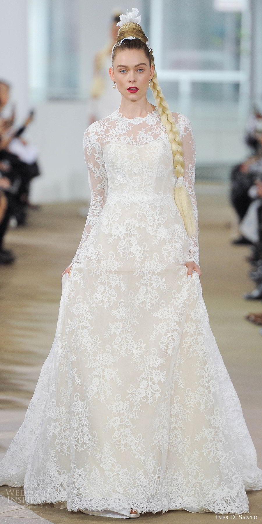 ines di santo spring 2018 bridal illusion long sleeves jewel neck lace a line wedding dress (deborah) mv bow back train romantic elegant