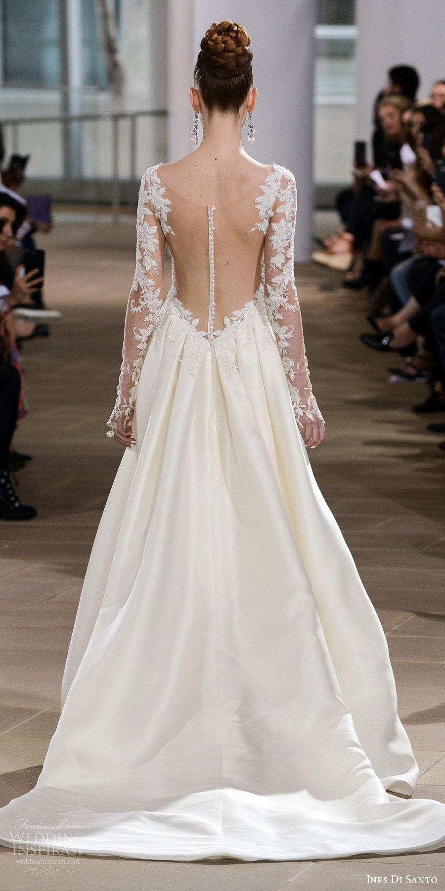 ines di santo spring 2018 bridal illusion long sleeves scoop neck sheath wedding dress (diana) bv sheer low back train romantic elegant