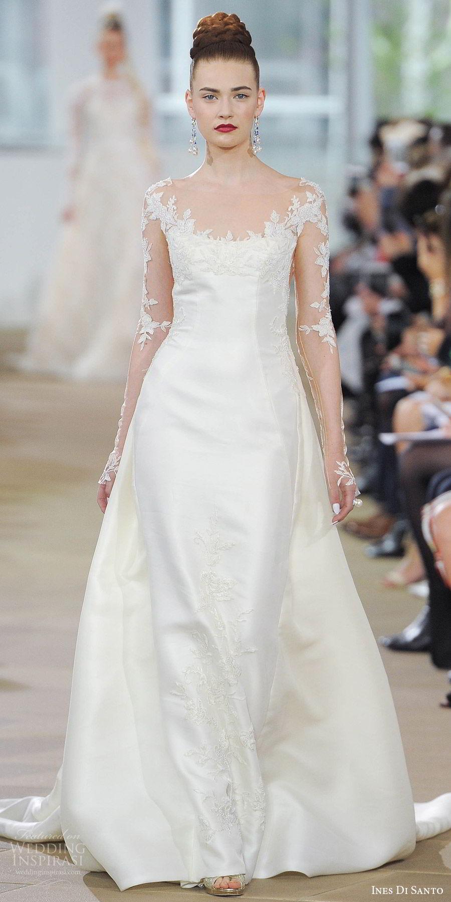ines di santo spring 2018 bridal illusion long sleeves scoop neck sheath wedding dress (diana) mv sheer low back train romantic elegant