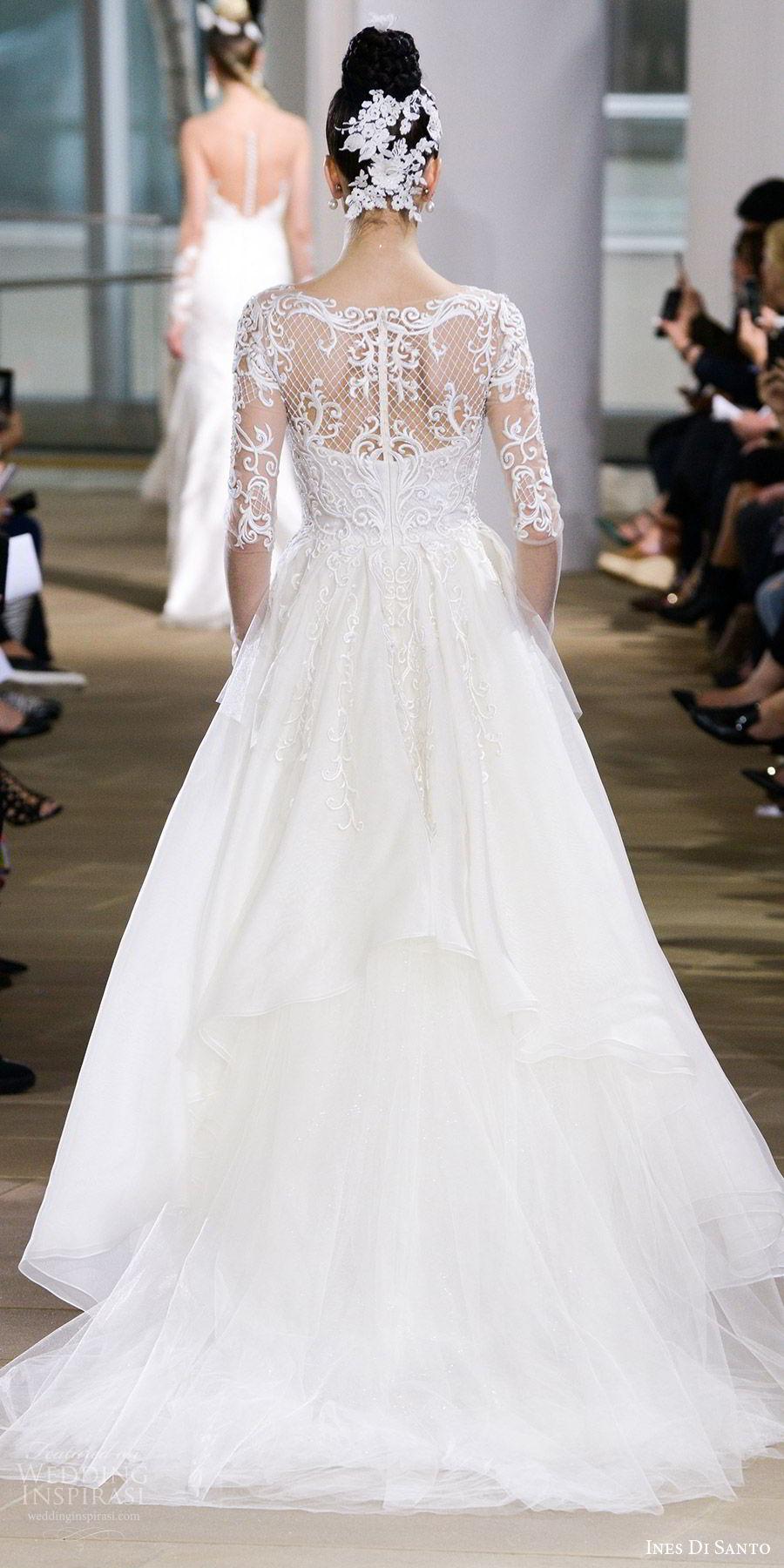 ines di santo spring 2018 bridal illusion long sleeves sweetheart neckline embroidered bodice ball gown wedding dress (cyra) bv romantic elegant