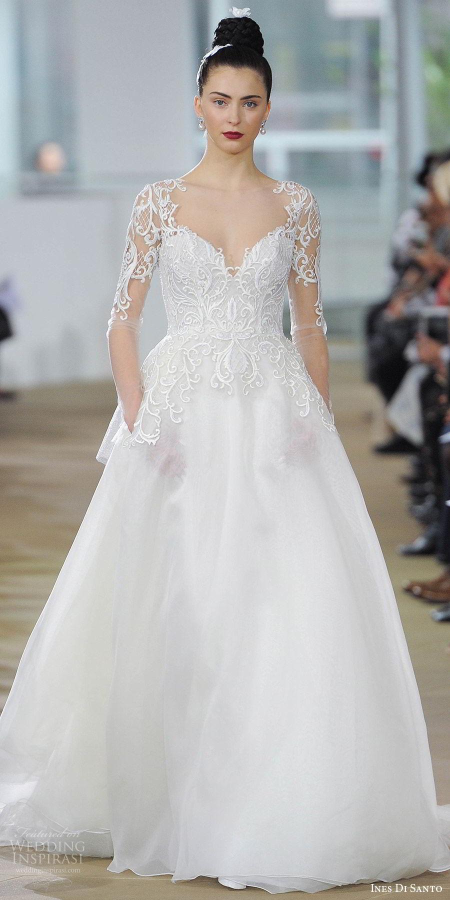 ines di santo spring 2018 bridal illusion long sleeves sweetheart neckline embroidered bodice ball gown wedding dress (cyra) mv romantic elegant