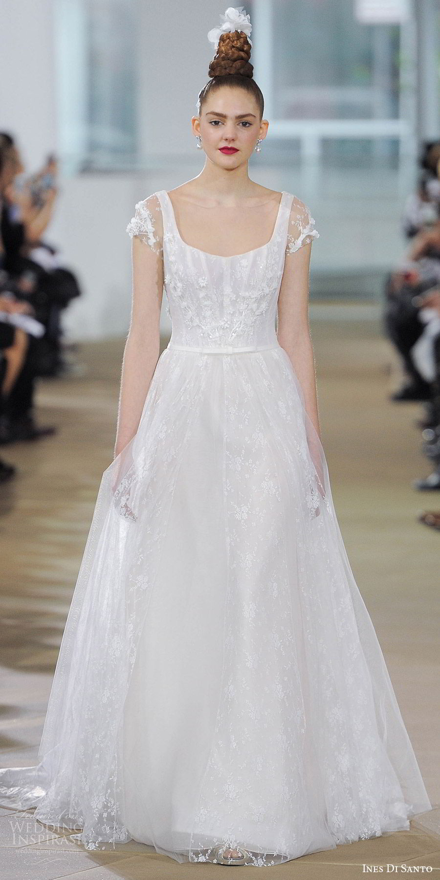 ines di santo spring 2018 bridal illusion short sleeve scoop neck embroidered a line wedding dress (harper) mv sheer back romantic