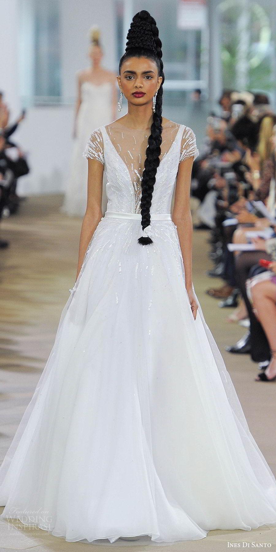 ines di santo spring 2018 bridal illusion short sleeves deep v neck beaded bodice a line wedding dress (circe) mv sheer v back romantic