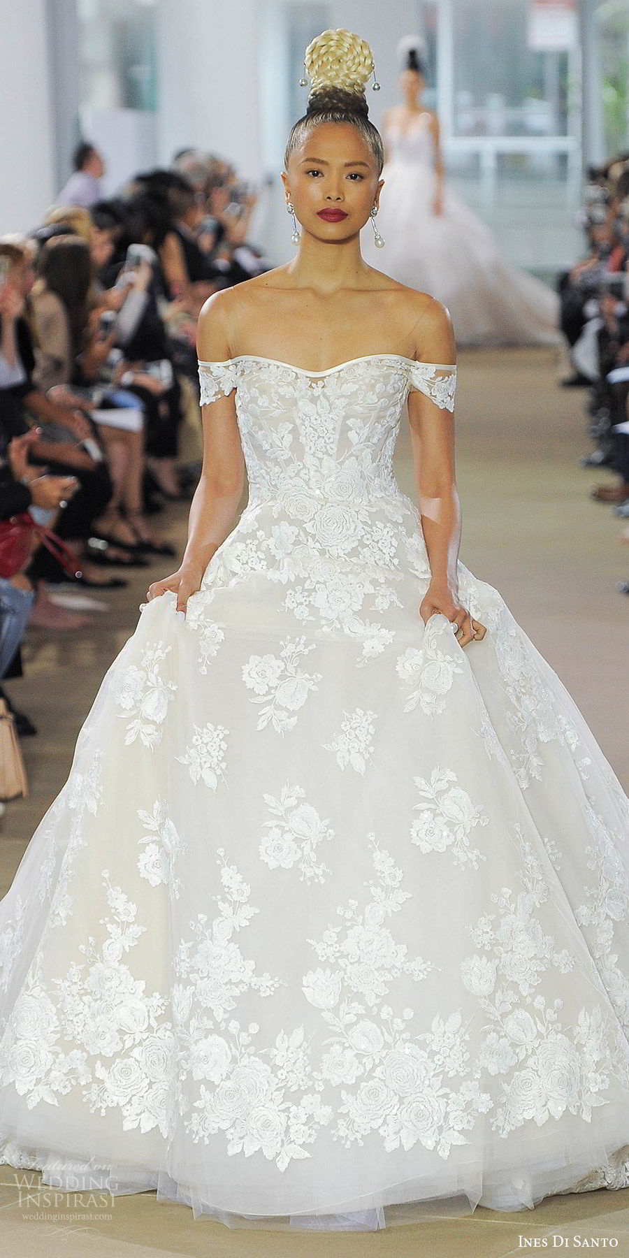 ines di santo spring 2018 bridal off shoulder lace ball gown wedding dress (sylvie) mv romantic fairytale train
