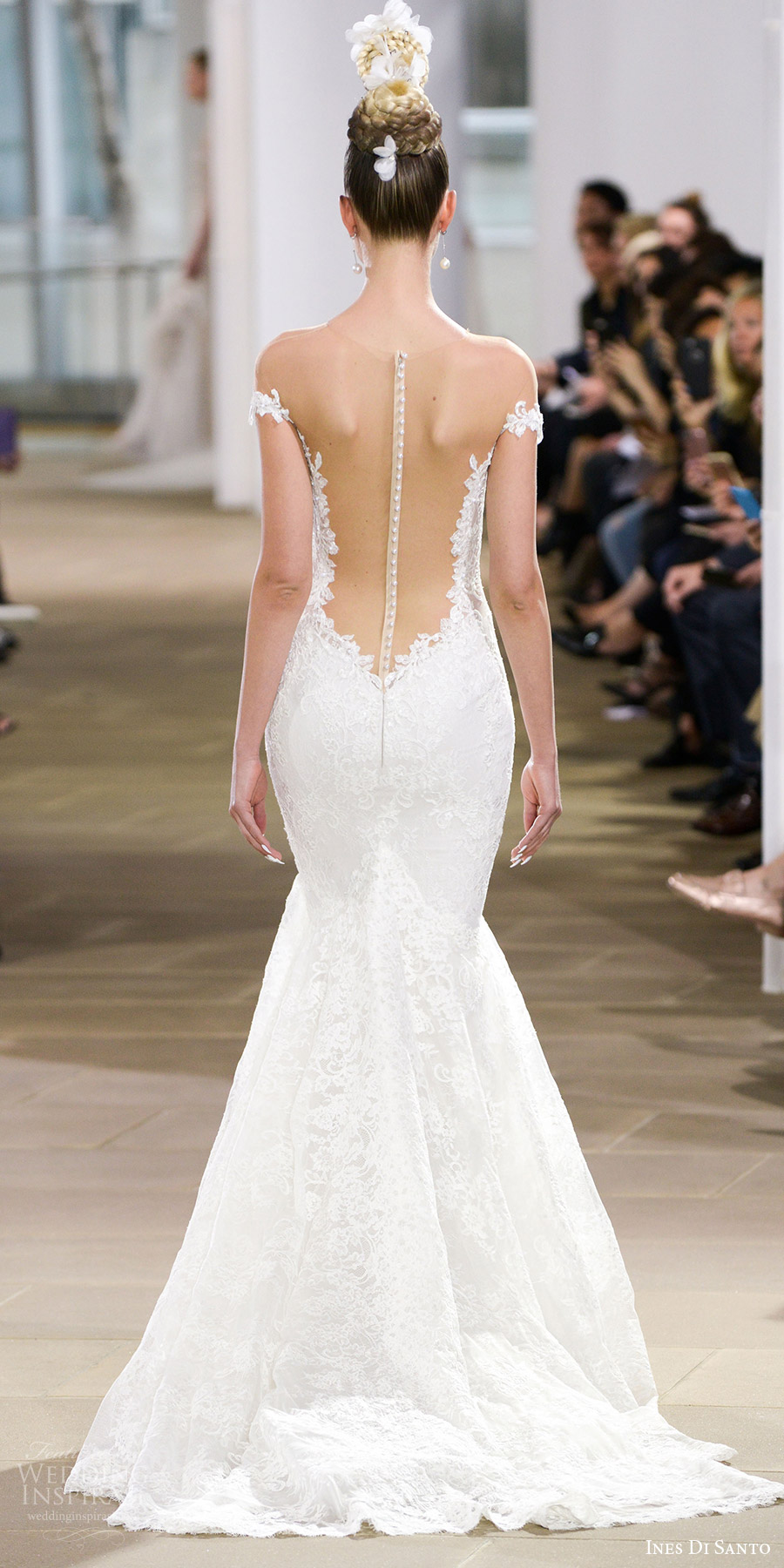 ines di santo spring 2018 bridal off shoulder plunging v neck  mermaid lace wedding dress (haydon) bv sheer low back glam