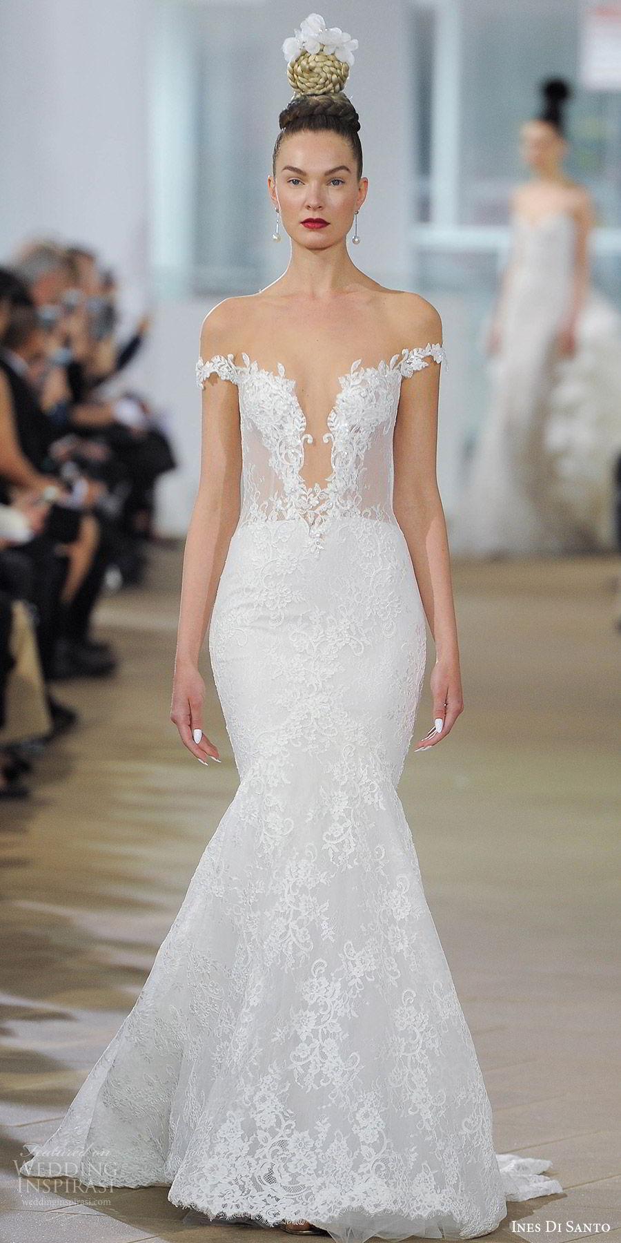 ines di santo spring 2018 bridal off shoulder plunging v neck  mermaid lace wedding dress (haydon) mv sheer low back glam