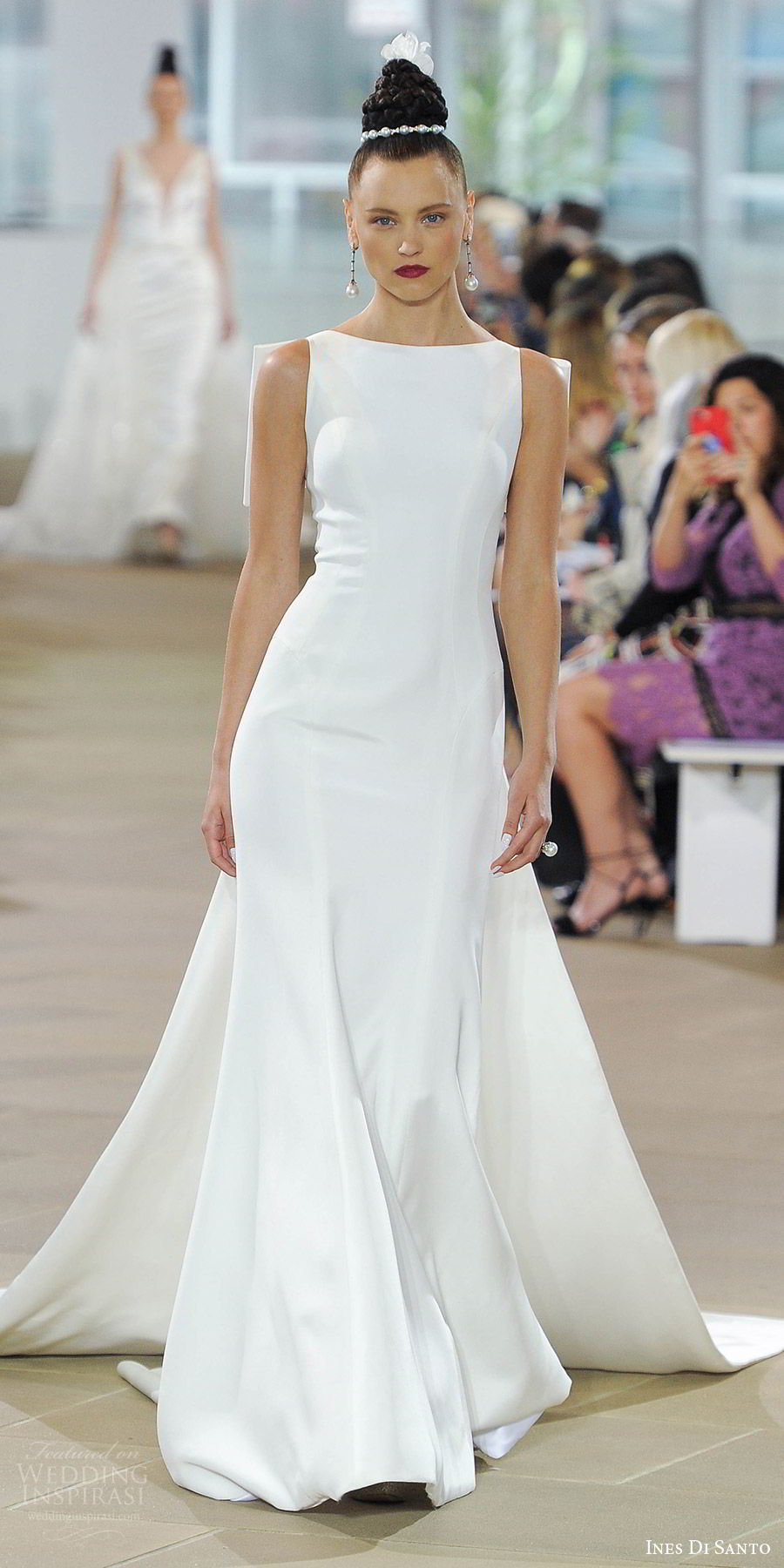 ines di santo spring 2018 bridal sleeveless bateau neck trumpet wedding dress (promise) mv illusion low back bow detachable train clean modern