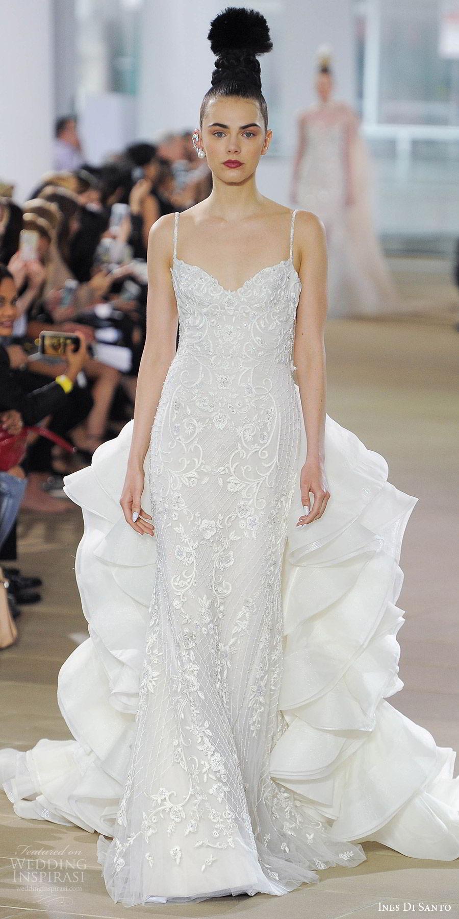 ines di santo spring 2018 bridal sleeveless beaded straps embroidered sheath wedding dress (elora) mv detachable ruffle cathedral train