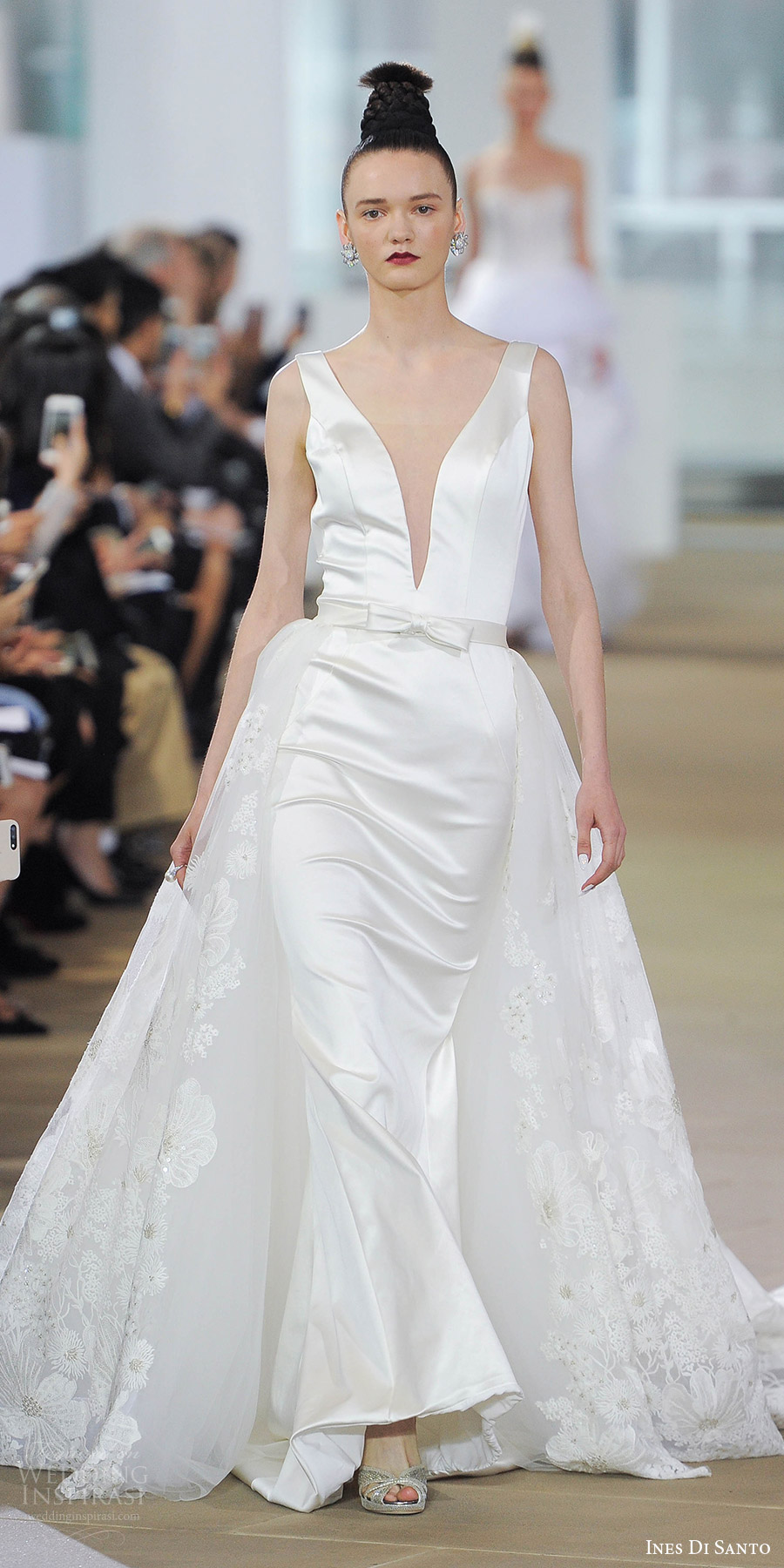 ines di santo spring 2018 bridal sleeveless deep v neck sheath wedding dress (laura) mv bow belt v back lace overskirt cathedral train