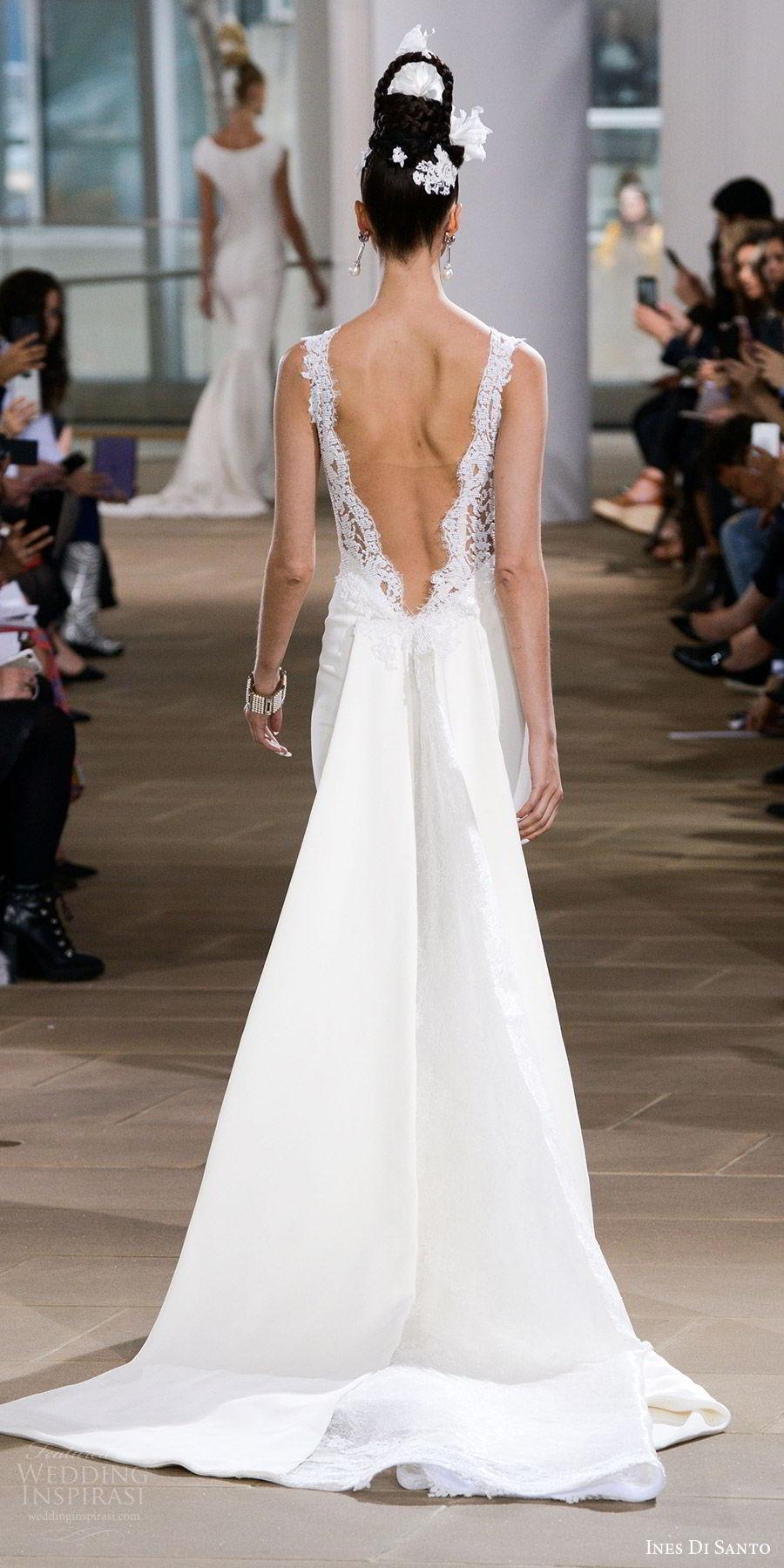 ines di santo spring 2018 bridal sleeveless deep v neck thick lace straps sheath wedding dress (blake) bv slit skirt low sheer back detachable train