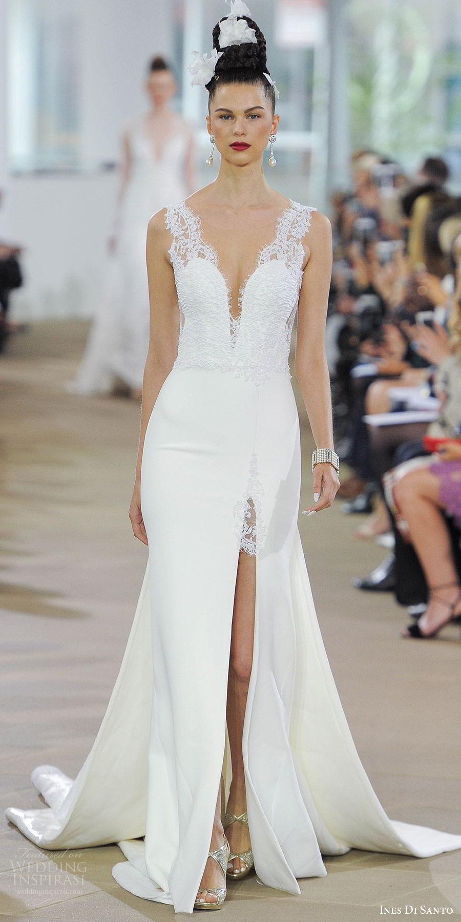 ines di santo spring 2018 bridal sleeveless deep v neck thick lace straps sheath wedding dress (blake) mv slit skirt low sheer back detachable train