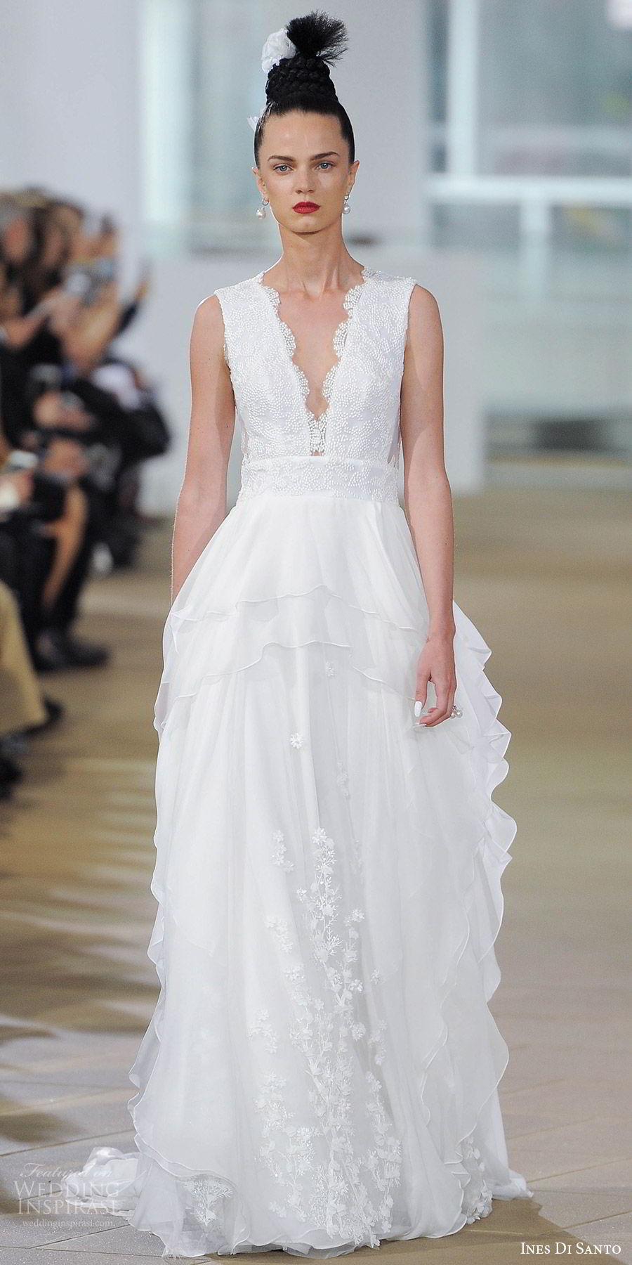 ines di santo spring 2018 bridal sleeveless deep vneckl lace a line wedding dress layered skirt (maci) mv boho romantic