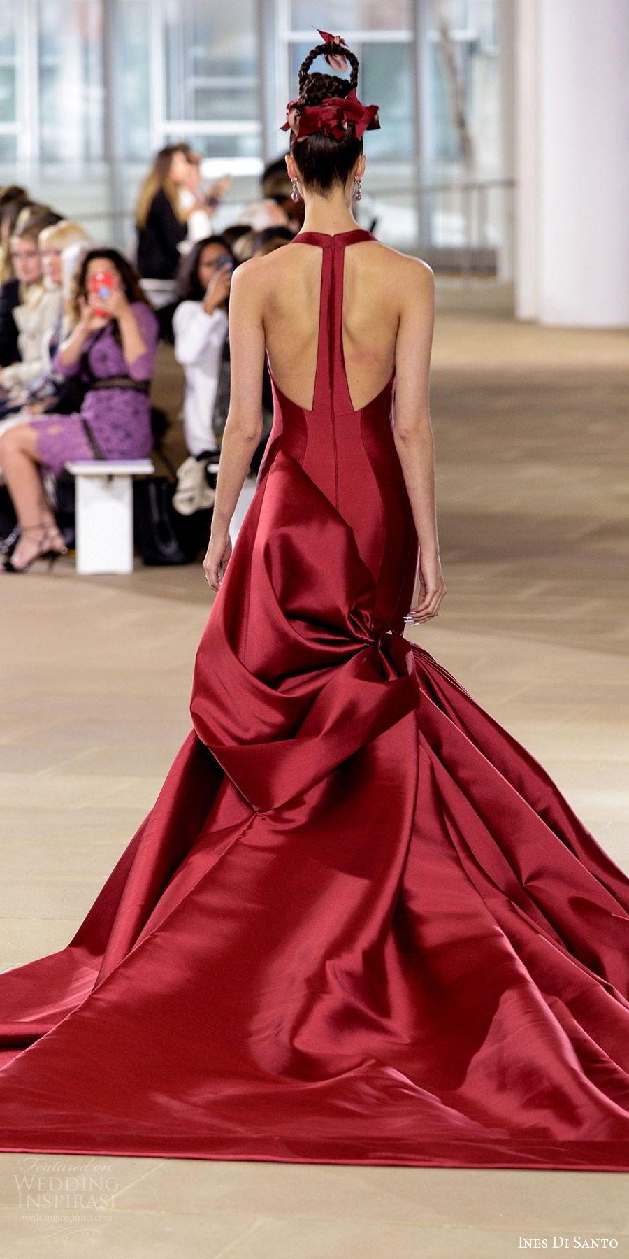 ines di santo spring 2018 bridal sleeveless halter neck corset bodice mermaid wedding dress (easton) bv red color modern bow back
