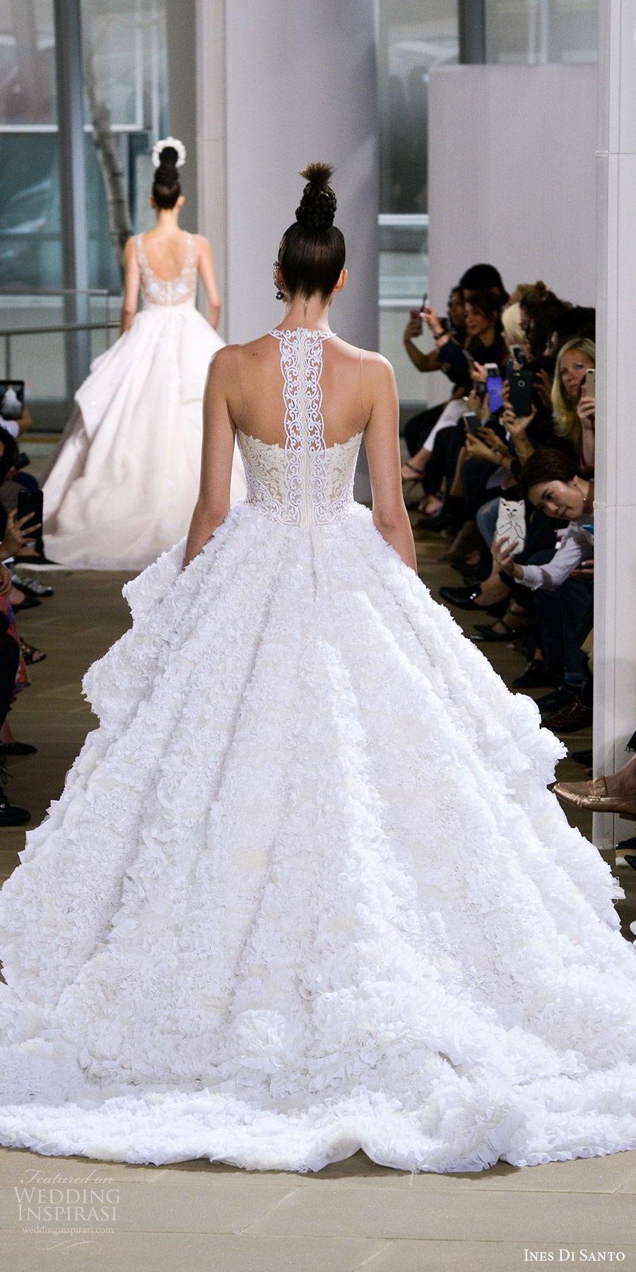 ines di santo spring 2018 bridal sleeveless illusion halter neck ball gown wedding dress (kensington) bv ruffle tier skirt lace racer back