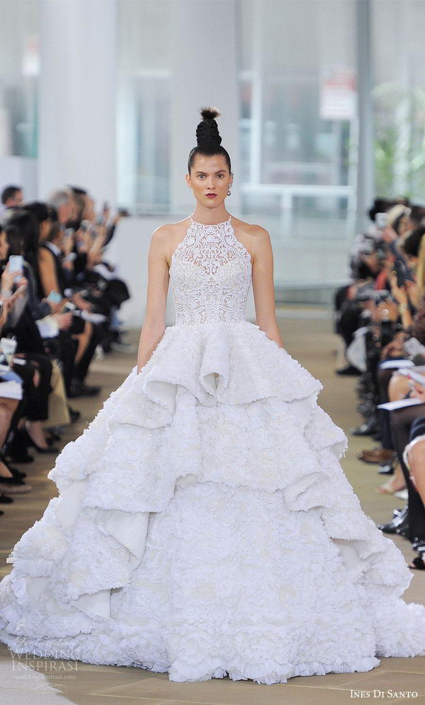 ines di santo spring 2018 bridal sleeveless illusion halter neck ball gown wedding dress (kensington) mv ruffle tier skirt romantic