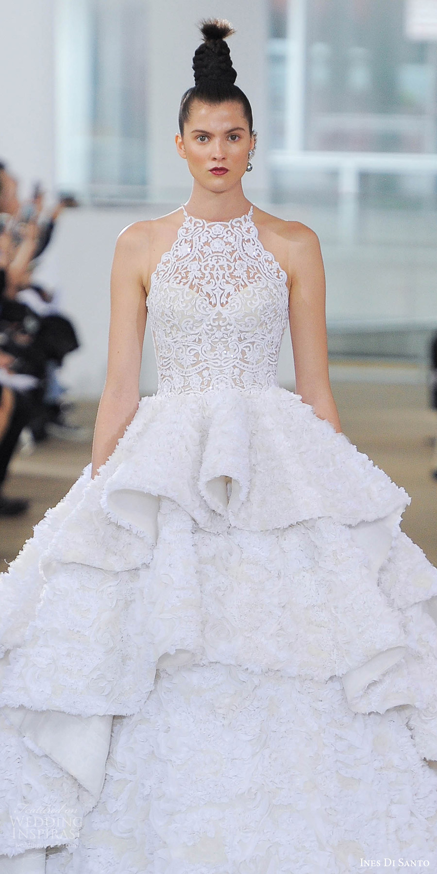 ines di santo spring 2018 bridal sleeveless illusion halter neck ball gown wedding dress (kensington) zv ruffle tier skirt romantic