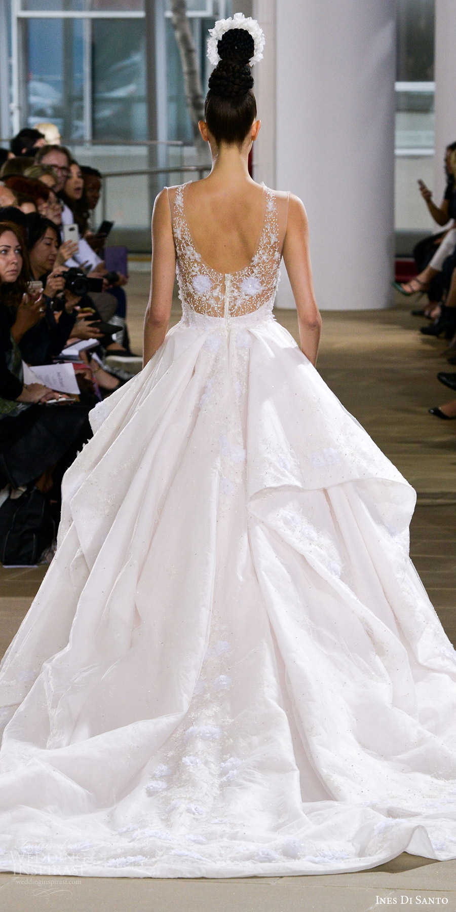 ines di santo spring 2018 bridal sleeveless illusion straps sweetheart layered skirt beaded bodice ball gown wedding dress (annora) bv princess romantic train
