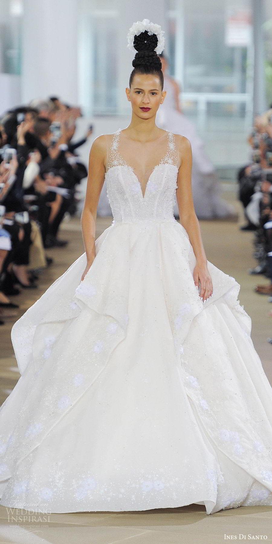 ines di santo spring 2018 bridal sleeveless illusion straps sweetheart layered skirt beaded bodice ball gown wedding dress (annora) mv princess romantic