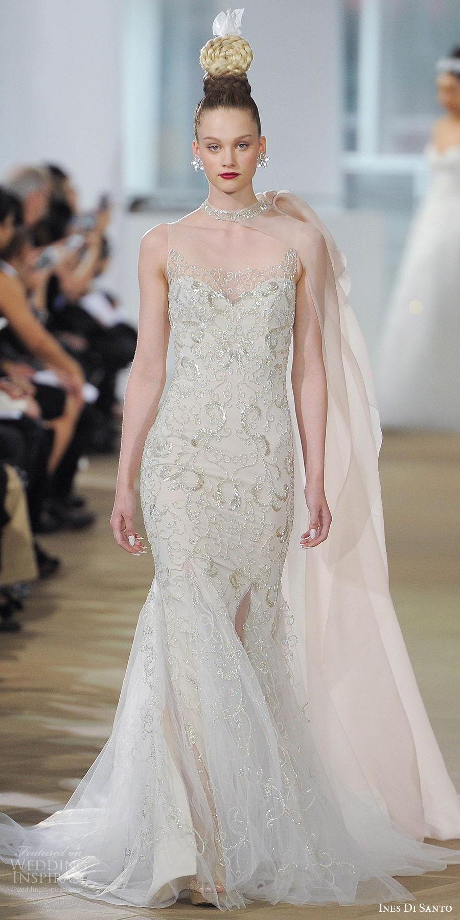 ines di santo spring 2018 bridal sleeveless jewel sweetheart sheath wedding dress (ella) mv godet skirt metallic embroidery sheer cape bow