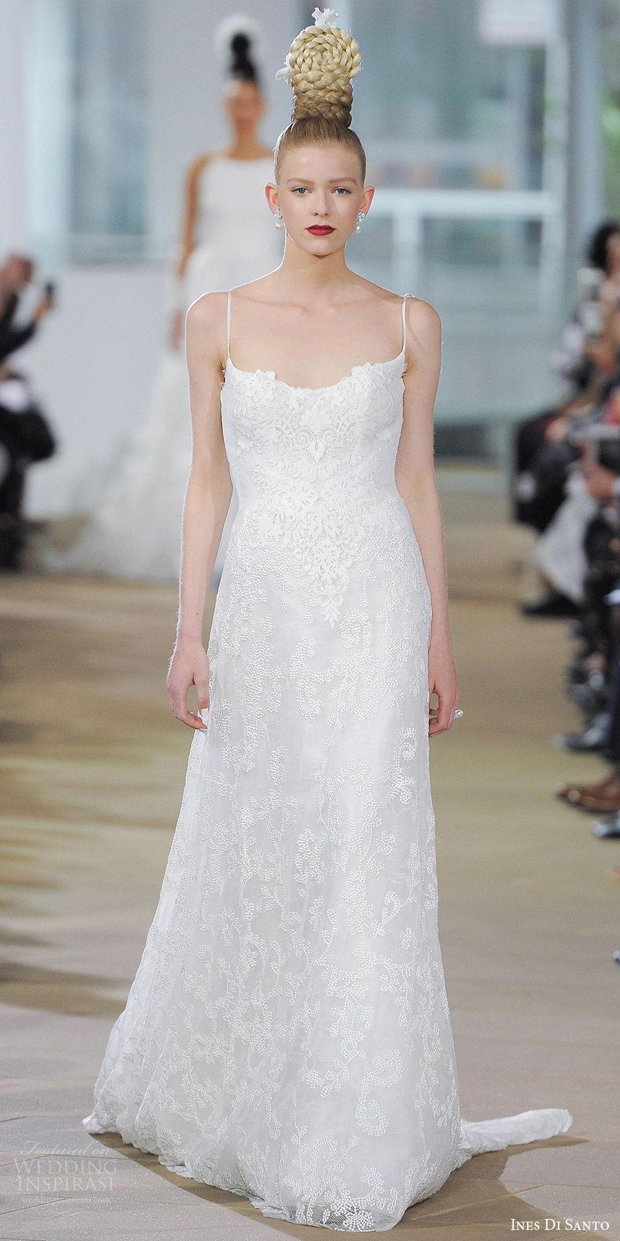 ines di santo spring 2018 bridal sleeveless scoop neck spaghetti straps lace a line wedding dress (jena) mv short train romantic elegant