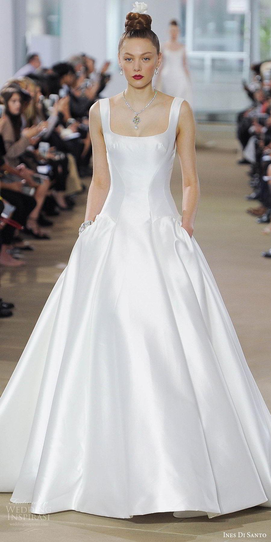 ines di santo spring 2018 bridal sleeveless square neck thick straps drop waist ball gown wedding dress (elena) mv clean elegant pockets