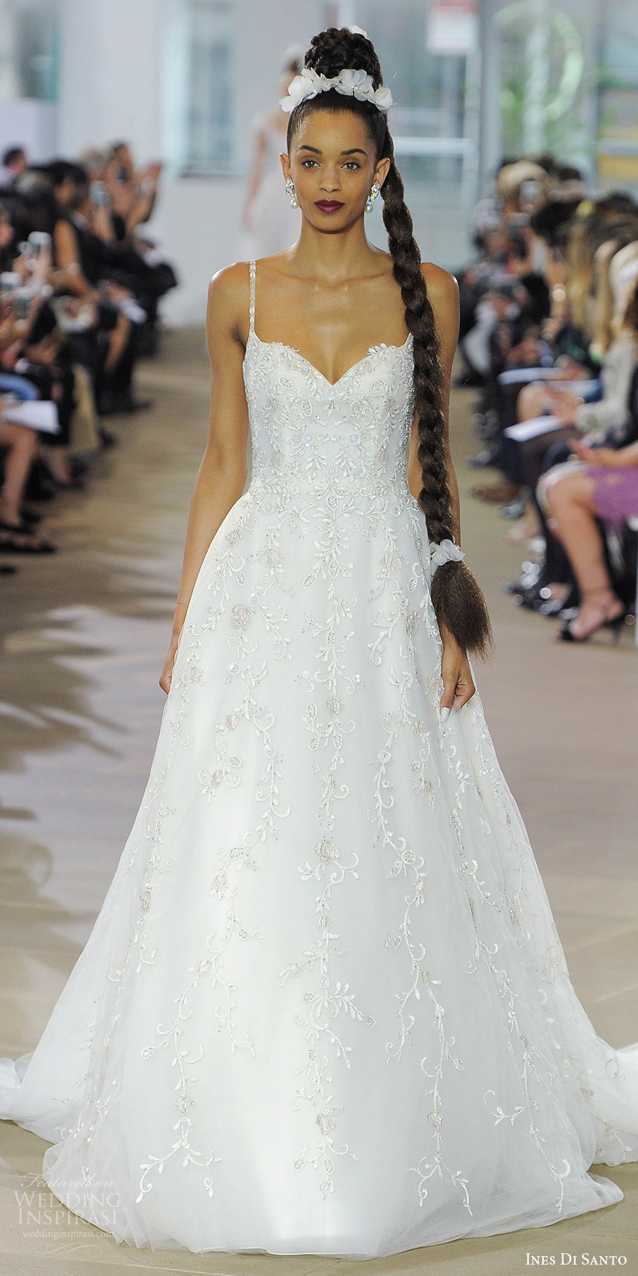 ines di santo spring 2018 bridal sleeveless sweetheart beaded thin straps a line wedding dress (adira) mv romantic