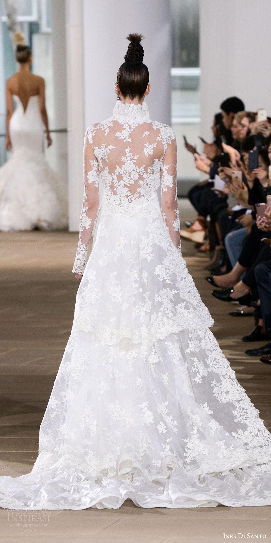 ines di santo spring 2018 bridal strapless semi sweetheart sheath wedding dress (liv) bv illusion low back long sleeve lace bolero detachable train