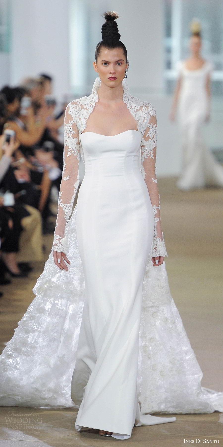 ines di santo spring 2018 bridal strapless semi sweetheart sheath wedding dress (liv) mv illusion low back long sleeve lace bolero detachable train