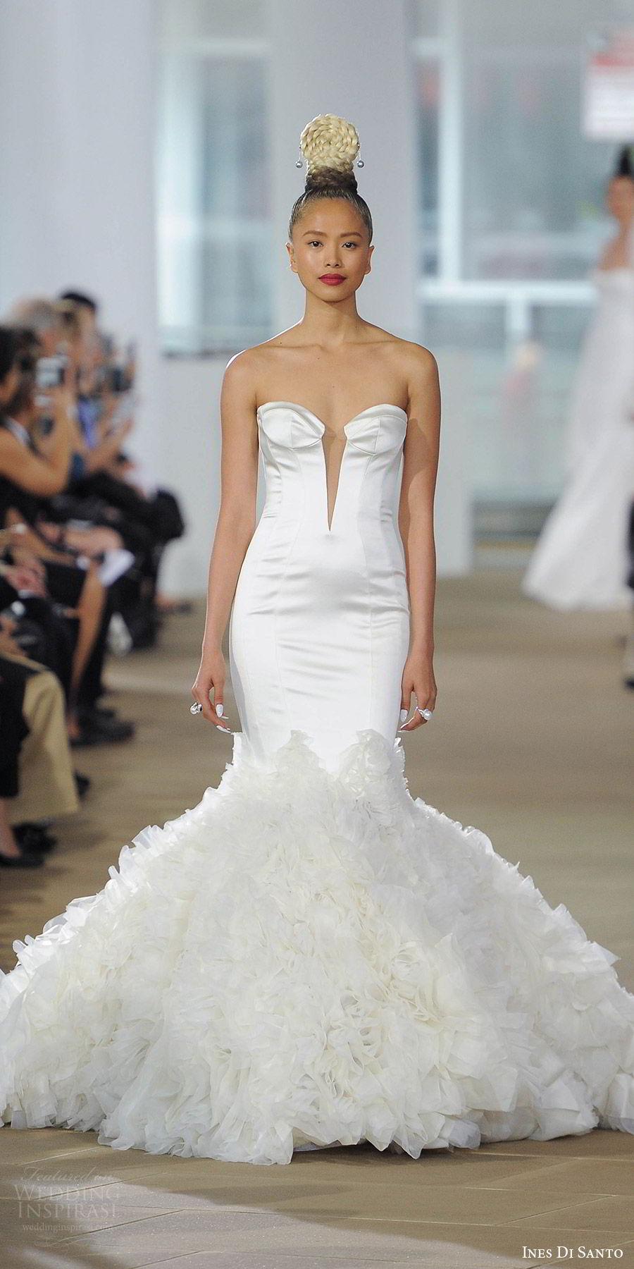 ines di santo spring 2018 bridal strapless split sweetheart mermaid wedding dress clean bodice ruffle skirt (brynne) mv modern