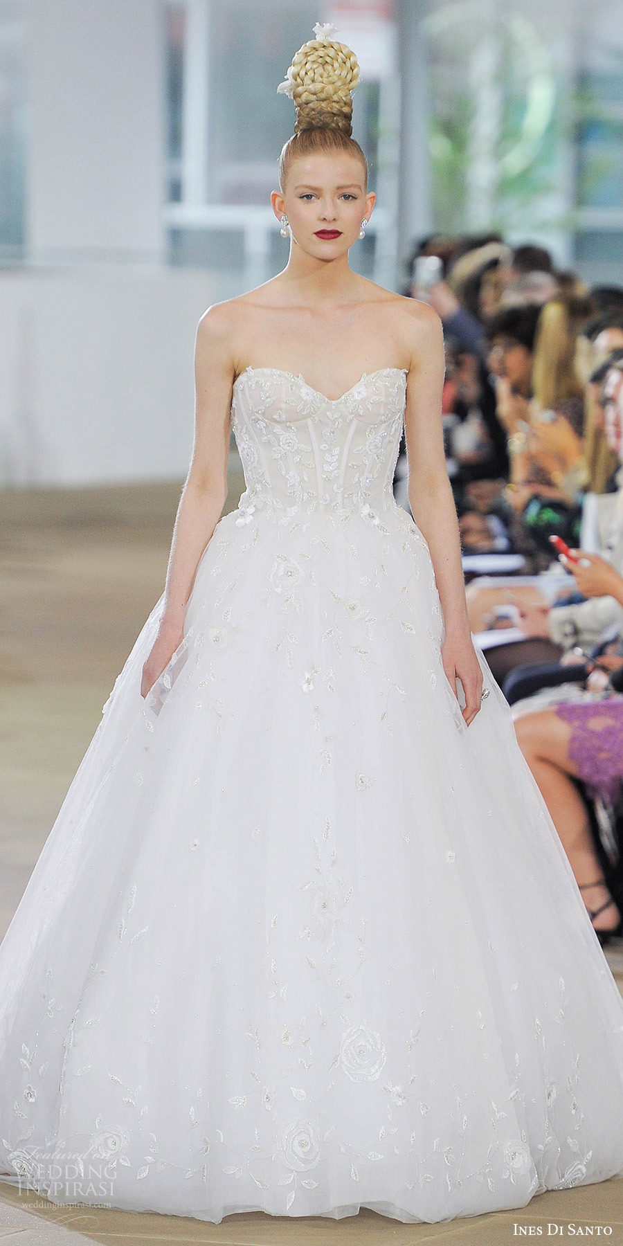 ines di santo spring 2018 bridal strapless sweetheart embroidered corset bodice ball gown wedding dress (lucy) mv train romantic elegant
