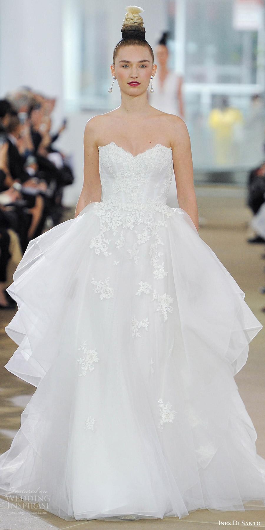 ines di santo spring 2018 bridal strapless sweetheart lace ball gown wedding dress (lexi) mv side flounce romantic elegant train