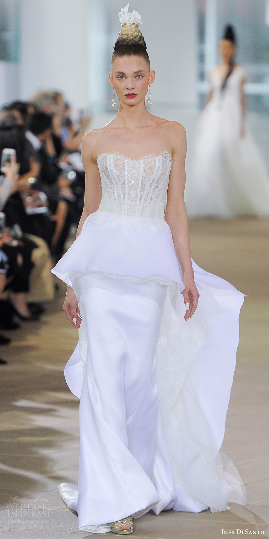 ines di santo spring 2018 bridal strapless sweetheart lace bodice sheath wedding dress (elodie) mv peplum overskirt train elegant