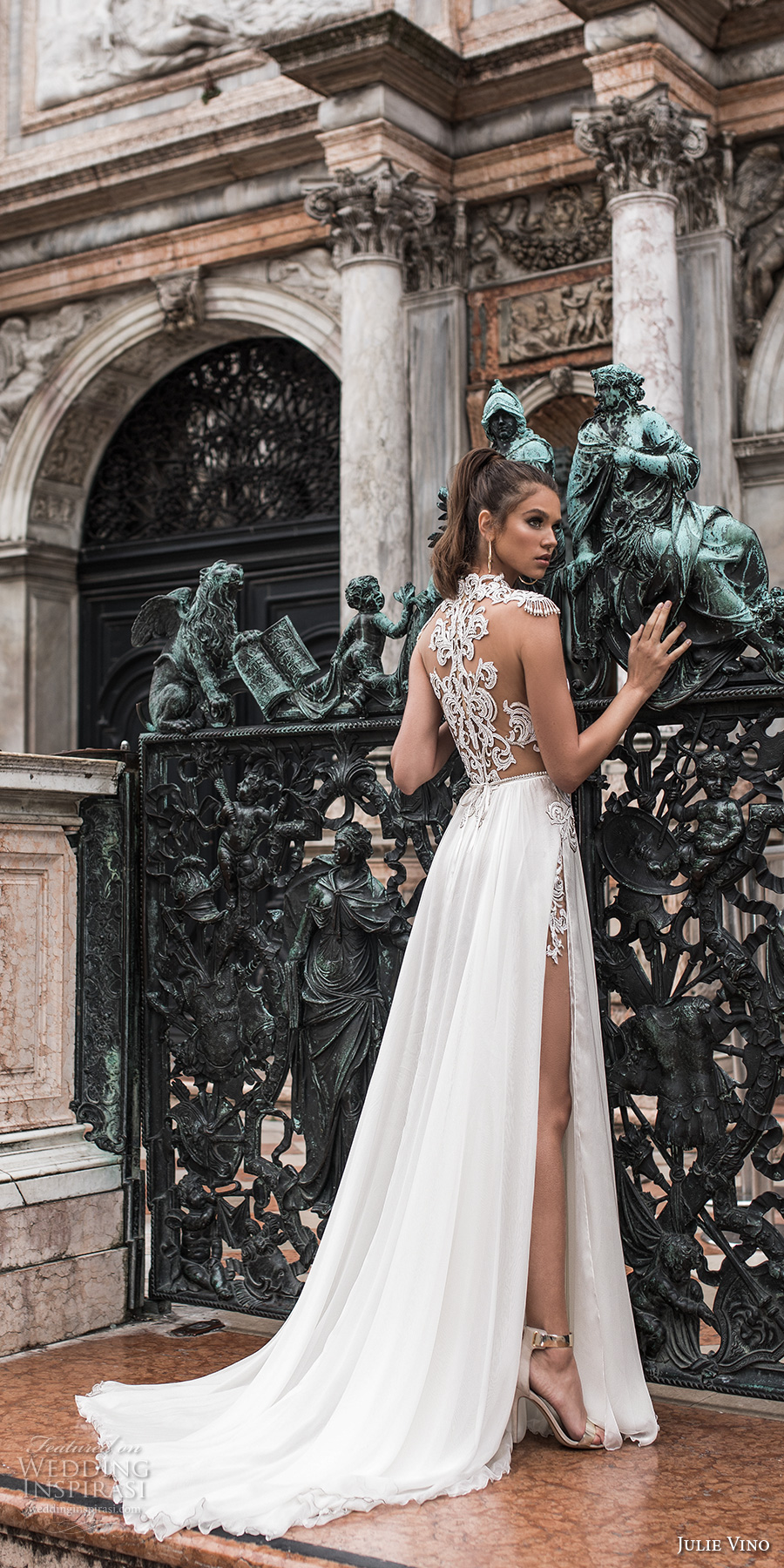 f42520afbc49 julie vino spring 2018 bridal cap sleeves jewel neck heavily embellished sheer  bodice high side slit