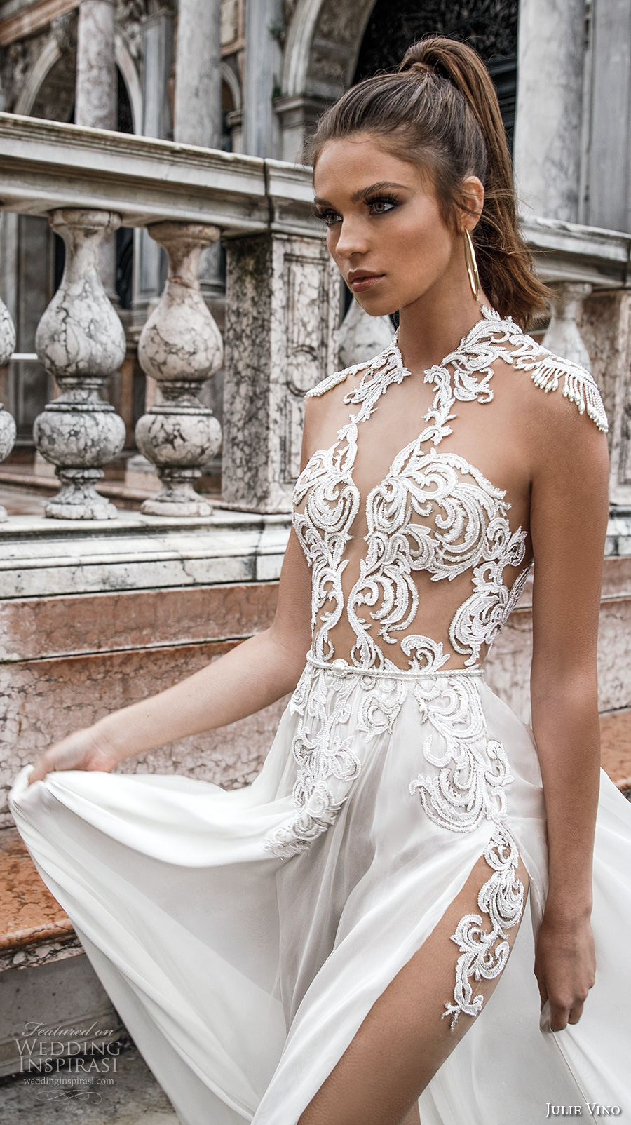 julie vino spring 2018 bridal cap sleeves jewel neck heavily embellished sheer bodice high side slit flowy skirt sexy glamorous a  line wedding dress beaded back sweep train (06) zv -- Julie Vino Spring 2018 Wedding Dresses