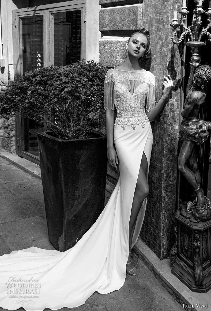 julie vino spring 2018 bridal fringed half sleeves illusion bateau sweetheart neckline heavily embellished bodice front slit elegant sexy sheath wedding dress fringed back chapel train (14) mv -- Julie Vino Spring 2018 Wedding Dresses