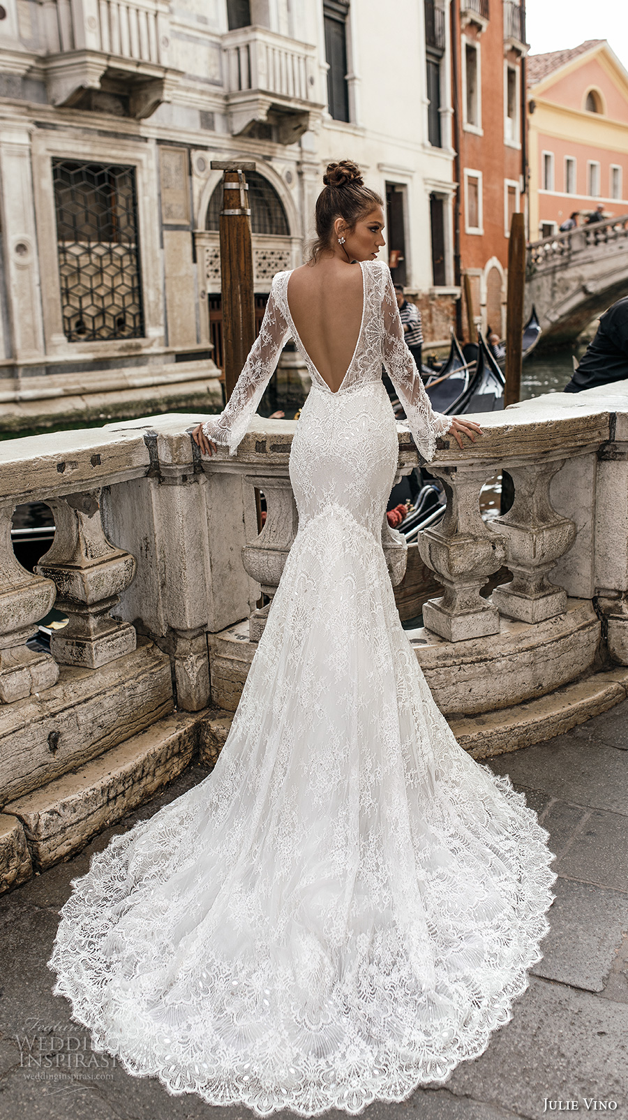 julie vino spring 2018 bridal long sleeves deep plunging v neck full embellishment lace elegant sexy fit and flare wedding dress open v back chapel train (04) bv