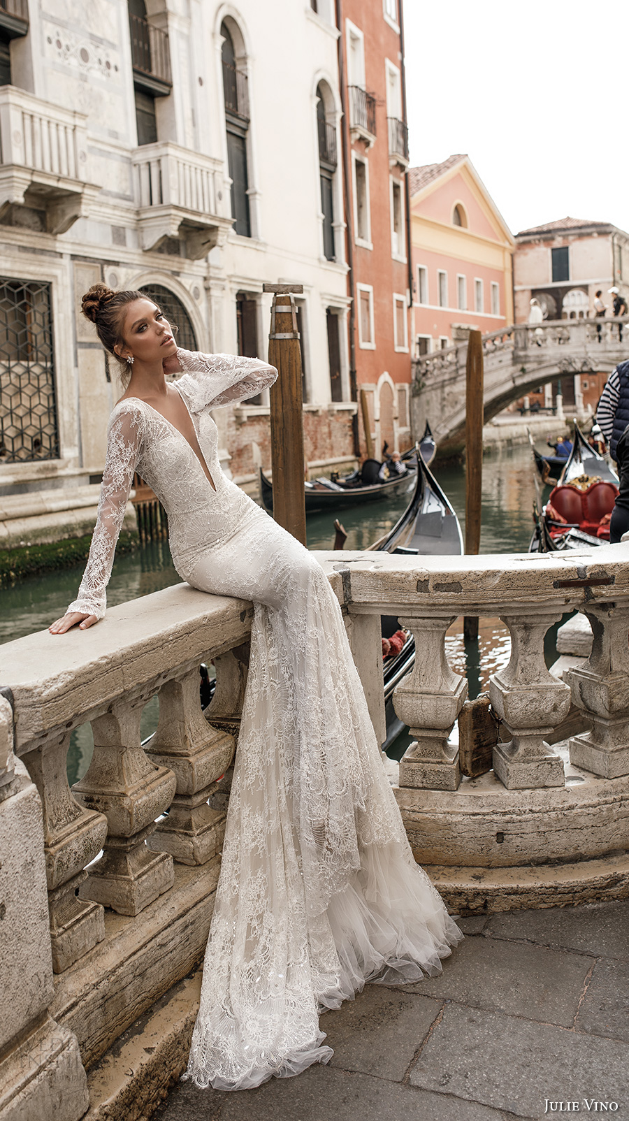 julie vino spring 2018 bridal long sleeves deep plunging v neck full embellishment lace elegant sexy fit and flare wedding dress open v back chapel train (04) mv