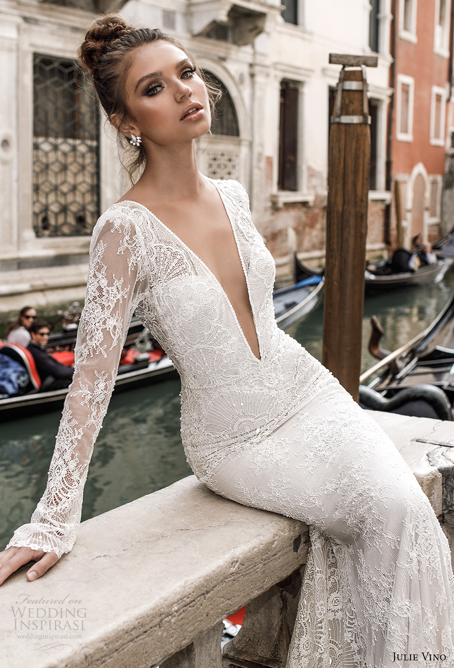 julie vino spring 2018 bridal long sleeves deep plunging v neck full embellishment lace elegant sexy fit and flare wedding dress open v back chapel train (04) zv