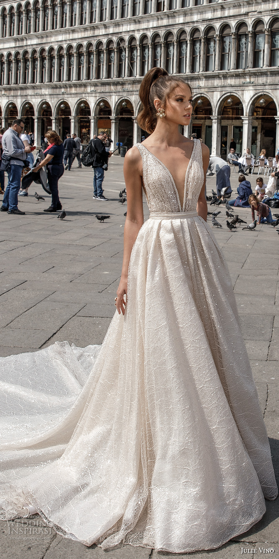 julie vino spring 2018 bridal sleeveless deep plunging v neck full embellishment romantic sexy a  line wedding dress open v back royal train (05) mv