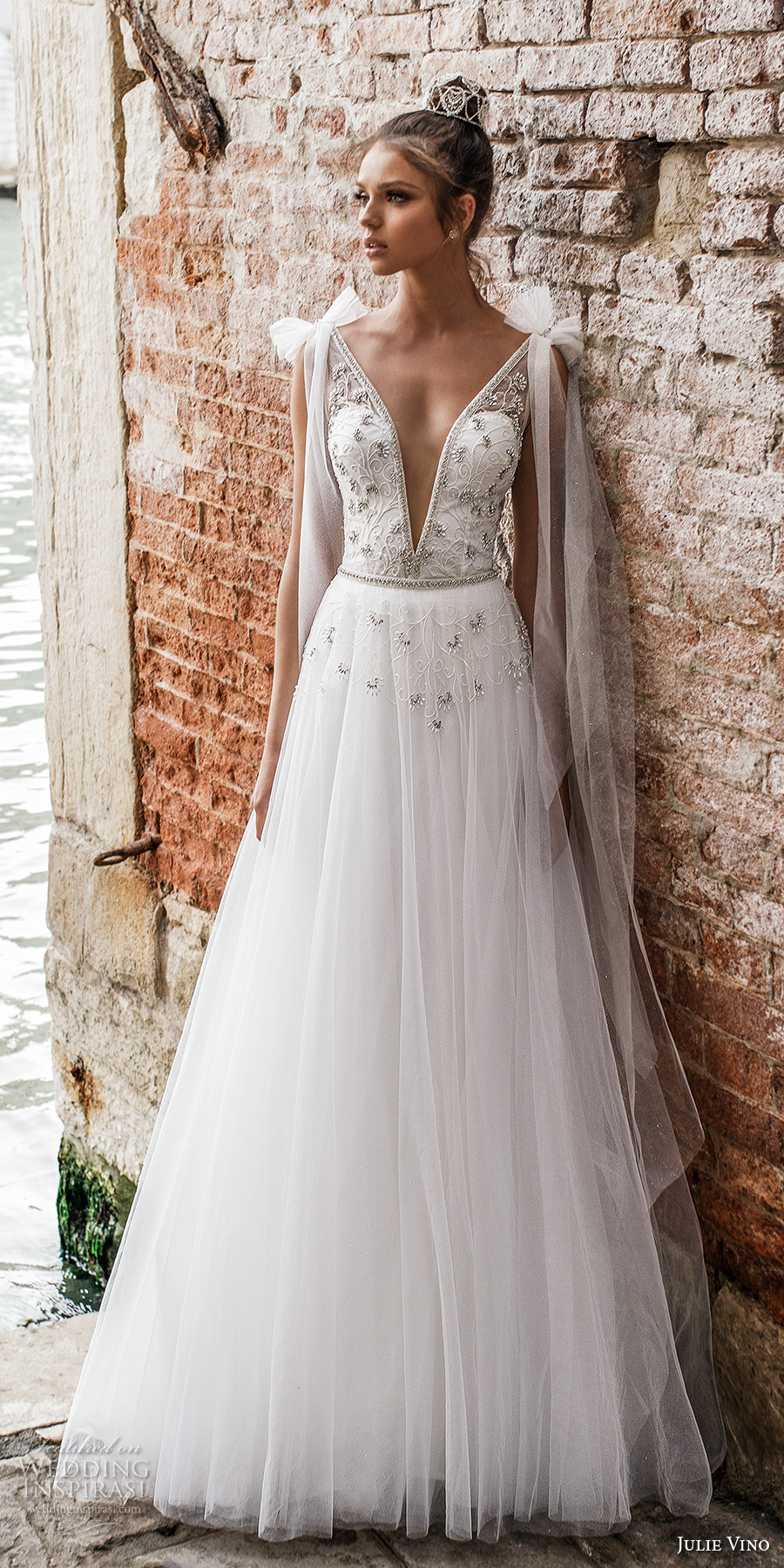 julie vino spring 2018 bridal sleeveless deep plunging v neck heavily embellished bodice romantic a line wedding dress open v back sweep train (08) mv